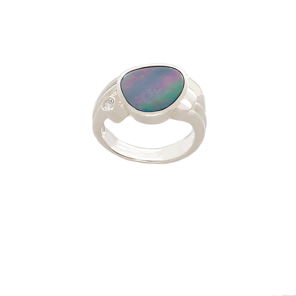 Blue Opal Ring (with pink and baby blue fire - Finesse Jewelry