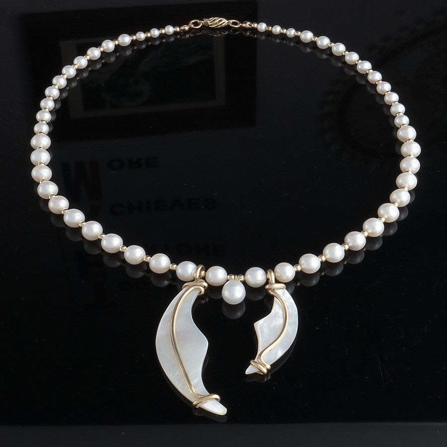 Pearl Wave Necklace - A Grade Pearls and 14k gold-filled - Finesse Jewelry