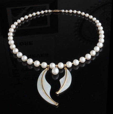 Pearl Wave Necklace - A Grade Pearls and 18k solid gold - Finesse Jewelry