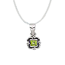 Peridot Square Antique Silver Pendant Necklace - Finesse Jewelry