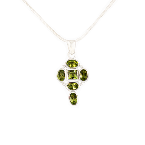 Peridot 6 Cluster Gems in Antique Silver on Silver Chain