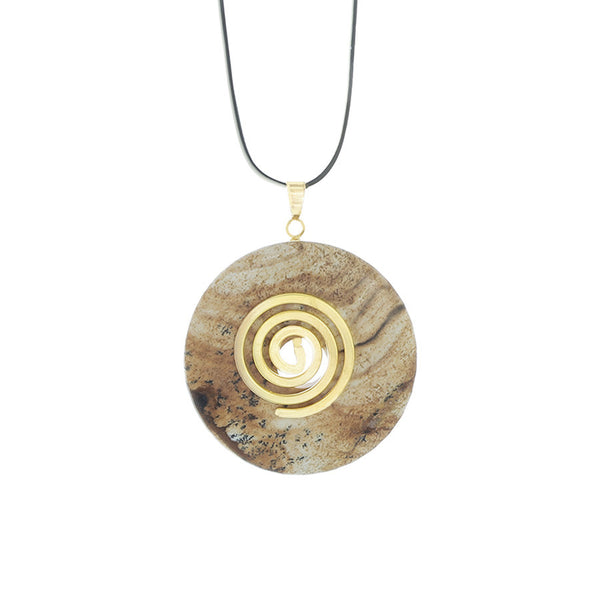 Picture Jasper Donut Pendant necklace on adjustable leather cord - Finesse Jewelry