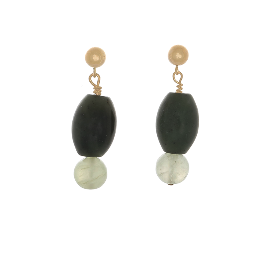 Prase & Prehenite Earrings on 14k gold-filled Posts - Finesse Jewelry