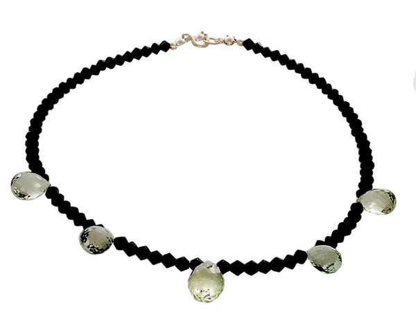 Prasiolite & Black Onyx Beaded necklace