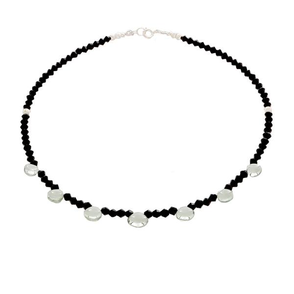 Prasiolite & Black Onyx Faceted beaded Necklace - Finesse Jewelry