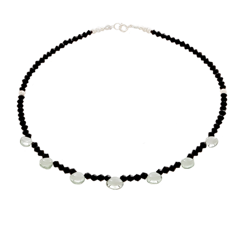 Prasiolite & Black Onyx Faceted beaded Necklace