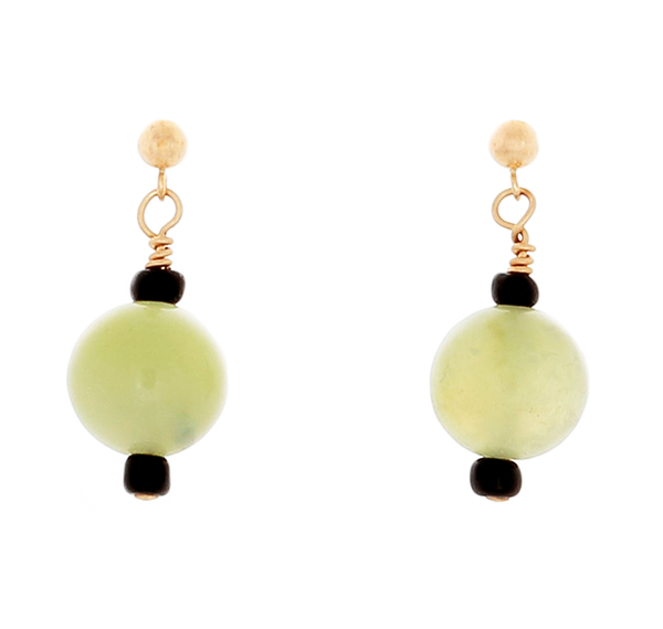 Prehenite bead on Gold-filled Post Earrings - Finesse Jewelry