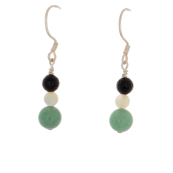 Prehenite, Black Onyx, Moonstone drop earrings on French hooks