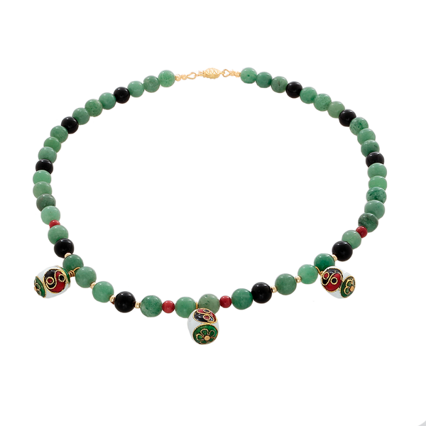 Prehenite, coral, and onyx beads with Cloisonne Yin/Ynag bead Necklace - Finesse Jewelry