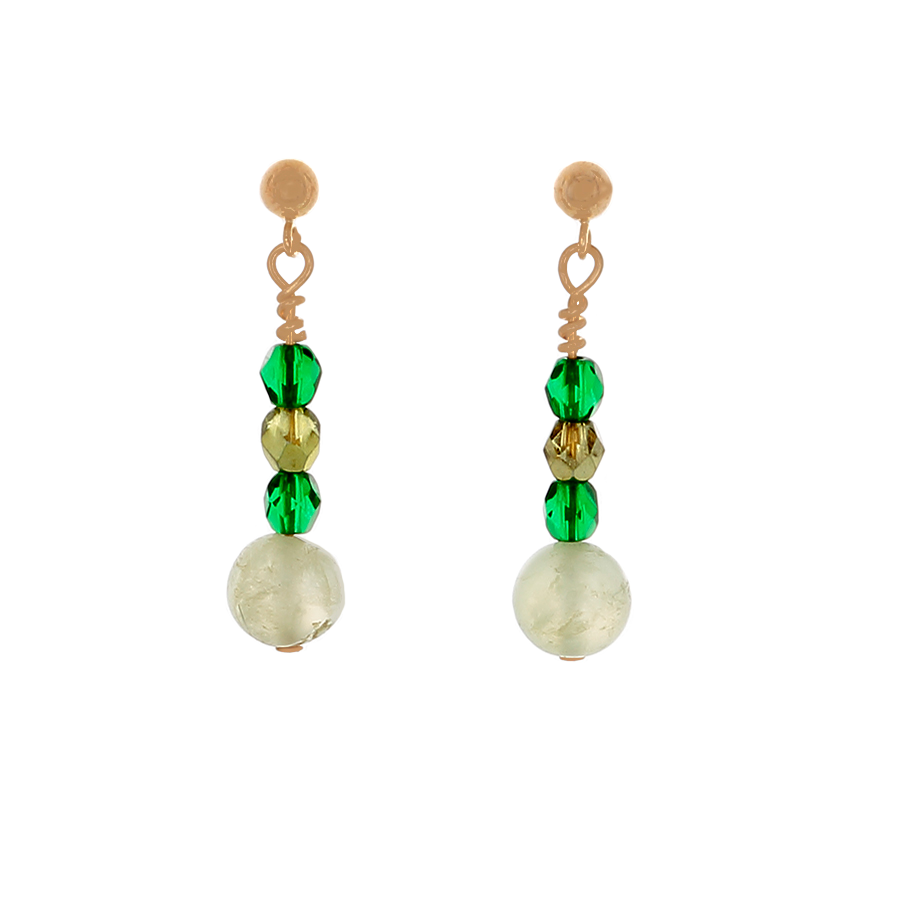 Prehenite & crystal Earrings on 14k Gold-Filled Posts