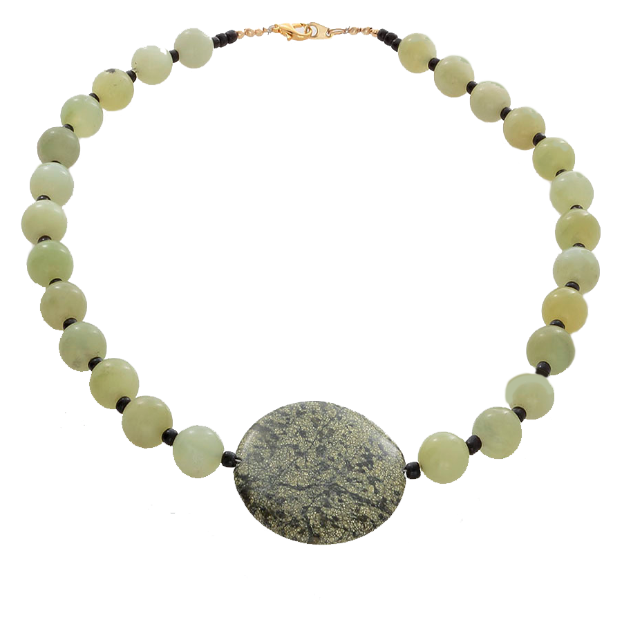 Prehenite Beads with a Moss Jasper pendant necklace - Finesse Jewelry