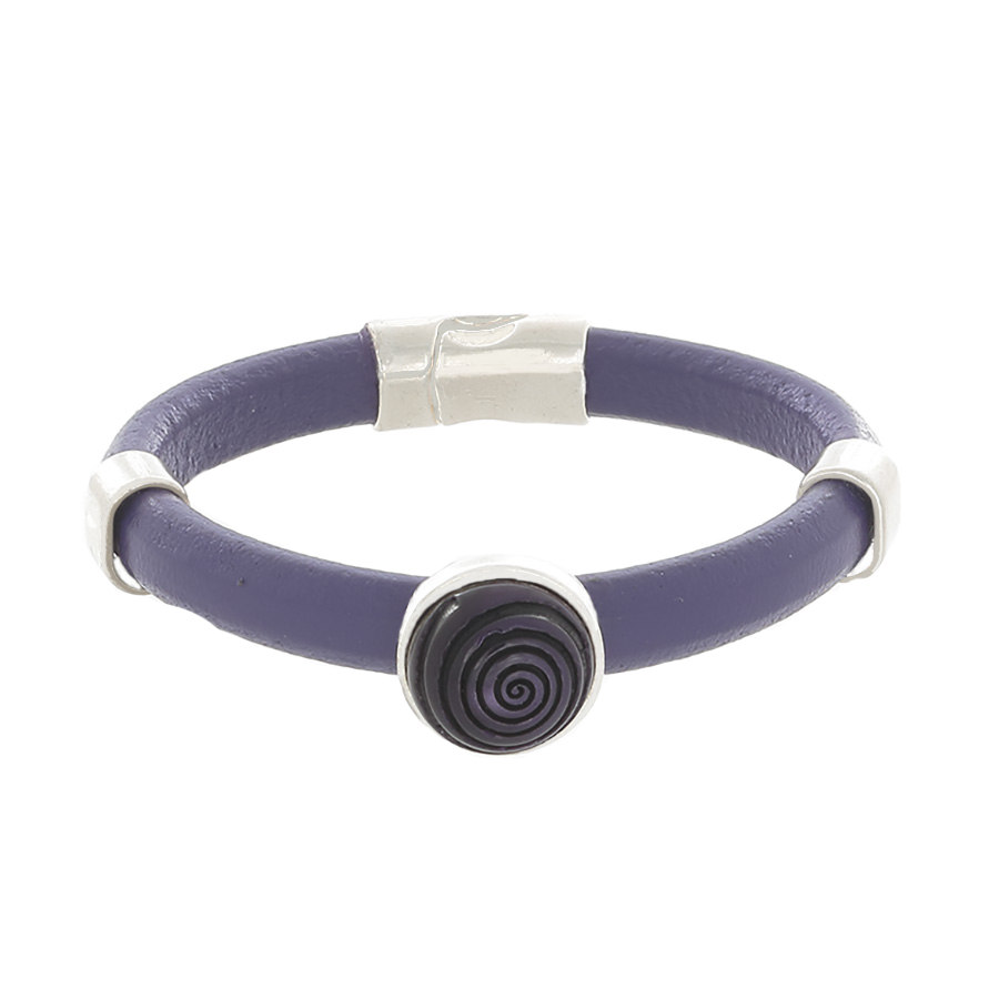 Purple Leather Bangle Bracelet with silver sliders & a Purple Resin focal slide - Finesse Jewelry