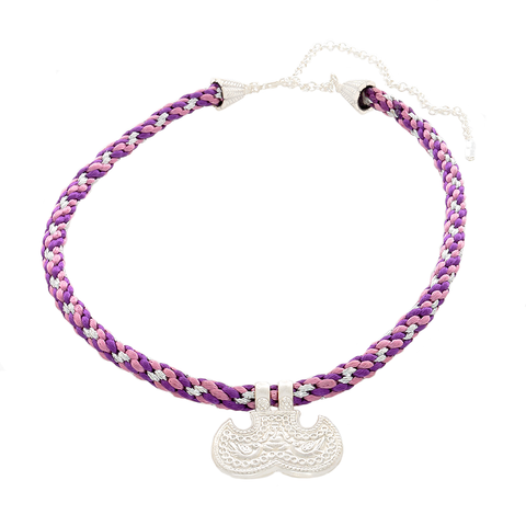 Kumihimo Purple & Silver Necklace with Silver Pendant