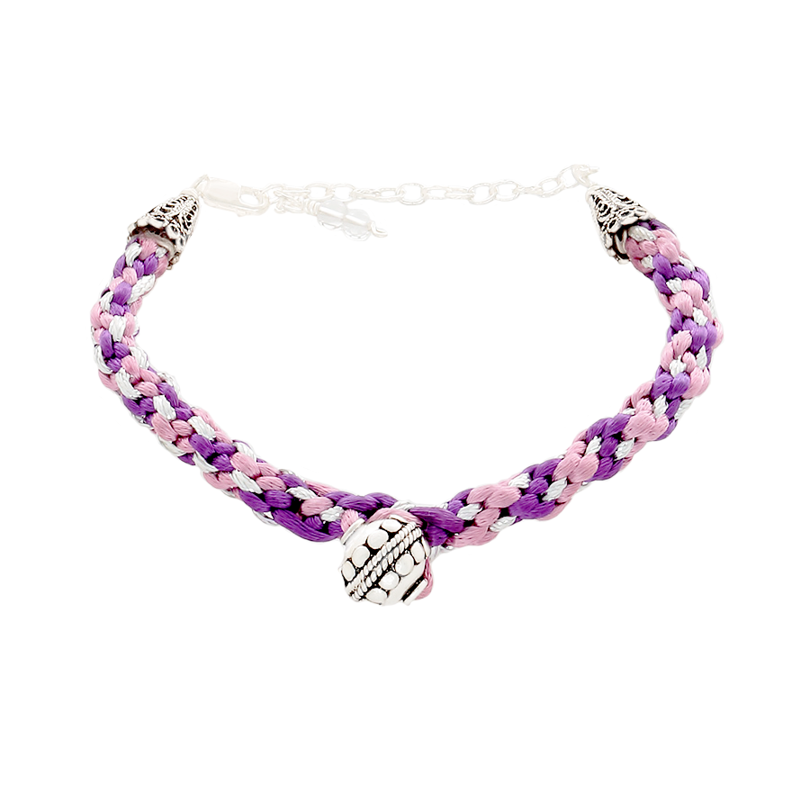 Kumihimo Purple & Silver Bracelet with Silber bead - Finesse Jewelry