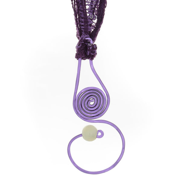 Purple Spiral Drop Pendant necklace with Prehenite bead & yarn/ribbon cord - Finesse Jewelry