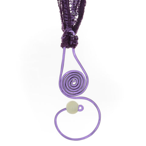 Purple Spiral Drop Pendant necklace with Prehenite bead & yarn/ribbon cord