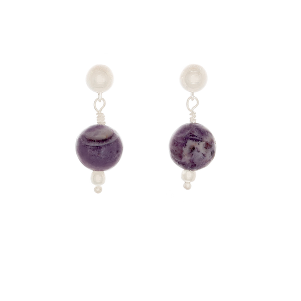 Purple Jasper bead Earrings on Sterling posts - Finesse Jewelry
