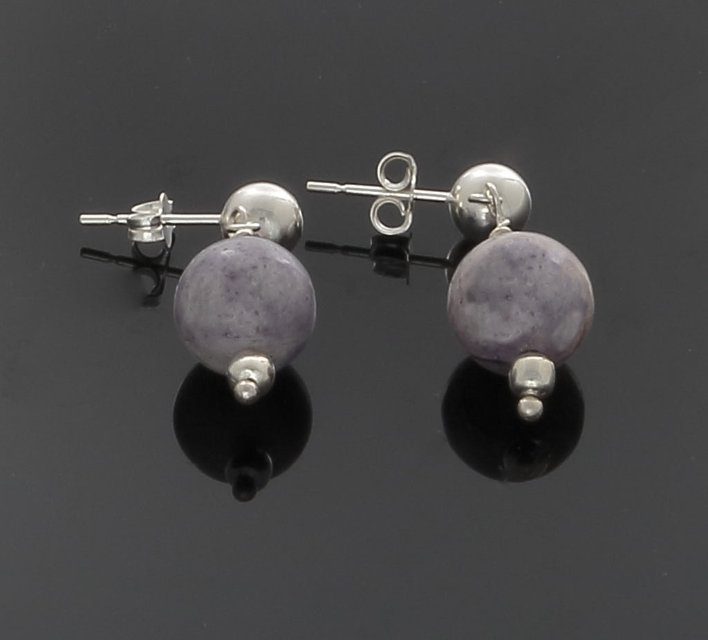 Purple Jasper bead earrings on a Sterling Silver ball and post - Finesse Jewelry
