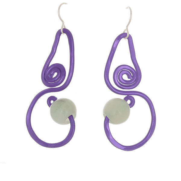 Purple Swirl Drop Earrings with Prehenite Bead - Finesse Jewelry