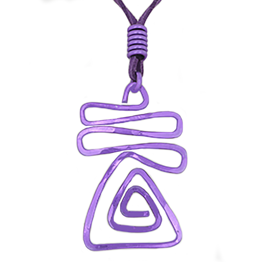 Triangle Wave Abstract Pendant Necklace - purple - Finesse Jewelry