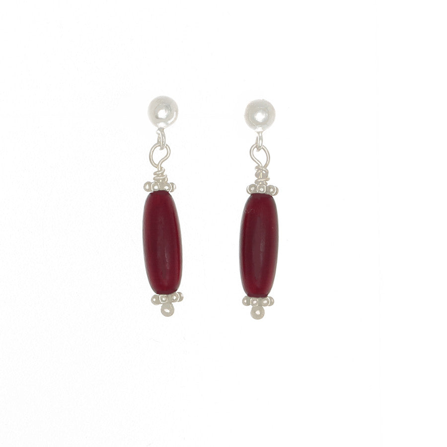 Red Amber Tube Bead Earrings on Sterling Silver Posts - Finesse Jewelry