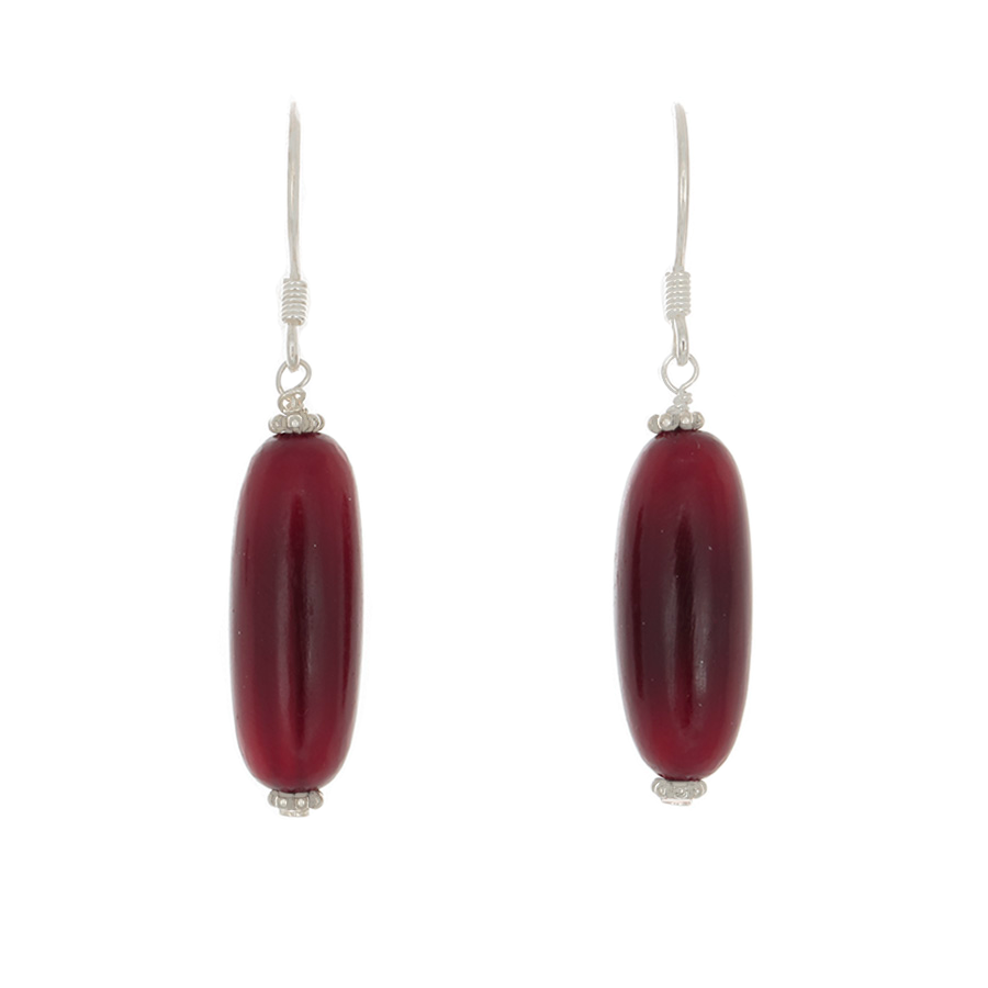 Red Amber Tube bead earrings on Sterling Silver French Hooks - Finesse Jewelry
