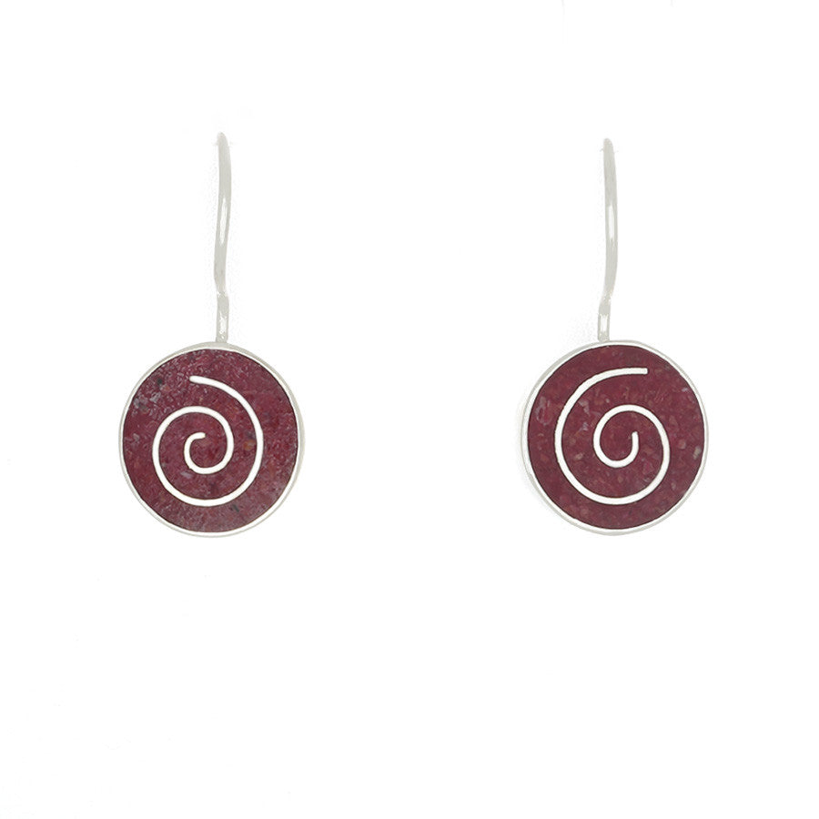 Red Coral inlaid with silver in a spiral earrings - Finesse Jewelry