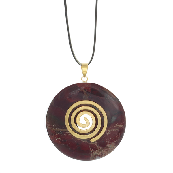 White Cave Red Jasper Donut Pendant Necklace on Gold-plated Spiral Bail.