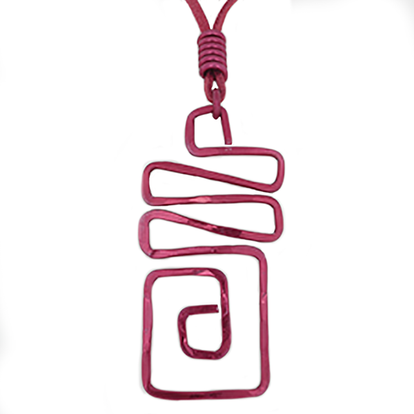 Square Wave Abstract Pendant Necklace - Red