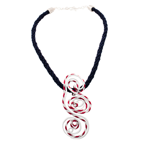 Red white and blue Kumihimo and focal pendant necklace - Finesse Jewelry