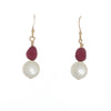 Raspberry & White Pearl Drop Earrings in Gold - Finesse Jewelry