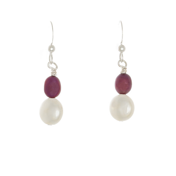 Raspberry & White Pearl Drop Sterling  Earrings - Finesse Jewelry