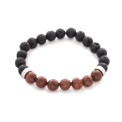 Red Jasper, Lava, and Sterling Silver Bead Stretch Infusion Bracelet for Men or Women - Finesse Jewelry