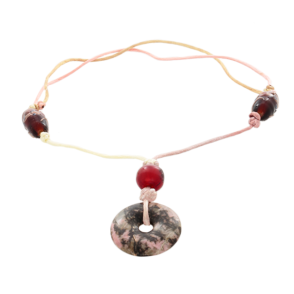 Rhodochrosite Pendant , Amber & glass bead Necklace on Adjustable satin cord - Finesse Jewelry