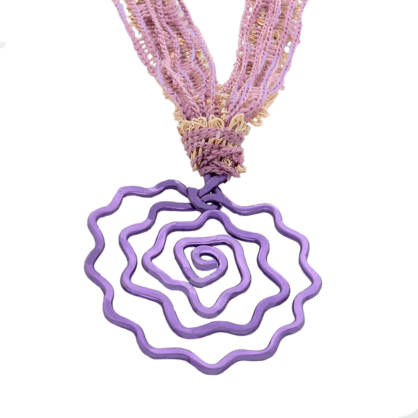 Rose pendant necklace in purple