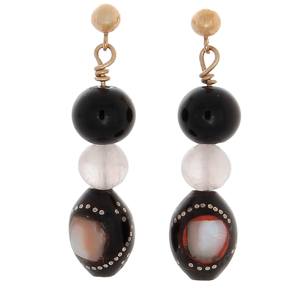 Black Coral Inlaid with Mother of Pearl and Rose Quartz on 14k Gold-Filled Post Earrings - Finesse Jewelry