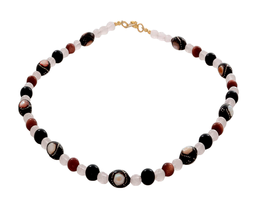 Black Coral inlaid with Mother of Pearl Necklace - Finesse Jewelry
