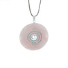 Rose-Quartz Donut Pendant Necklace on adjustable black leather cord - Finesse Jewelry