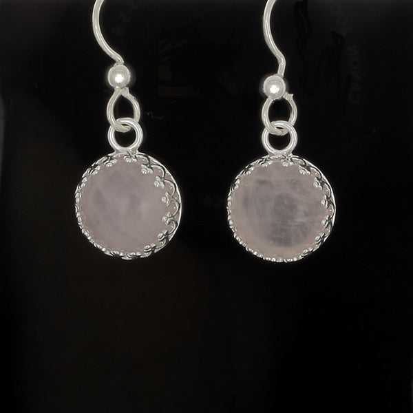 Pink Quartz Earrings bezel gallery set in Sterling Silver - Finesse Jewelry