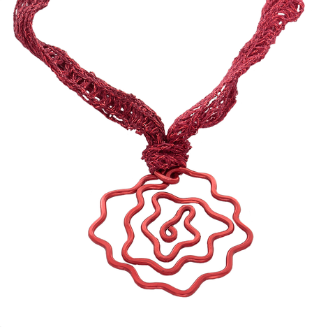 Rose Pendant Necklace in red