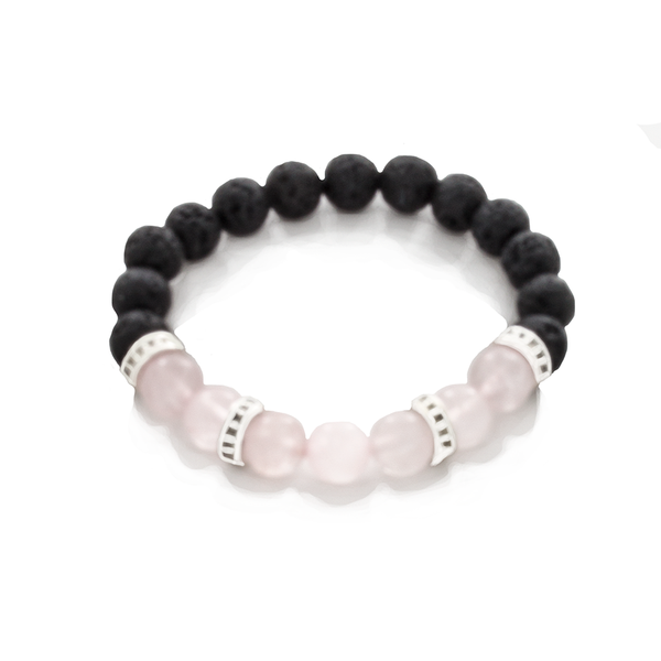 Rose Quartz, Lava, and Sterling Silver Bead Stretch Infusion Bracelet for Men or Women - Finesse Jewelry
