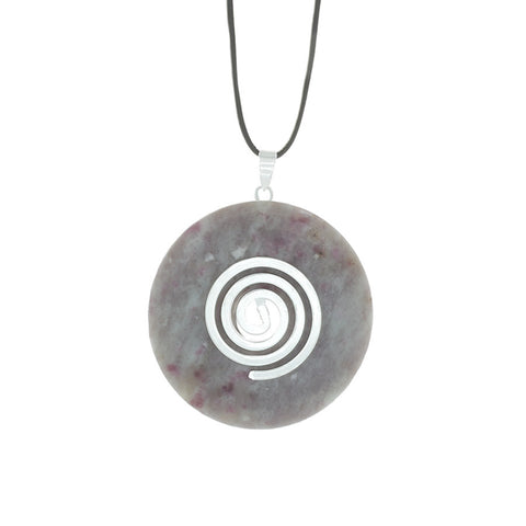 Ruby Calcite Donut Pendant necklace with Spiral Bail & on an adjustable leather cord - Finesse Jewelry