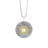 Ruby Calcite Donut Pendant necklace with Spiral Bail & on an adjustable leather cord