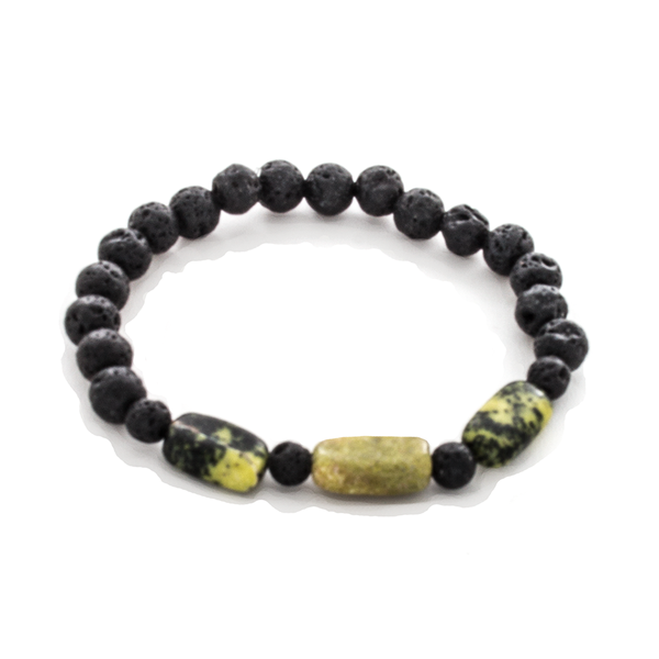 Serpentine Nugget and Lava Bead Stretch Infusion Bracelet for Men or Women - Finesse Jewelry