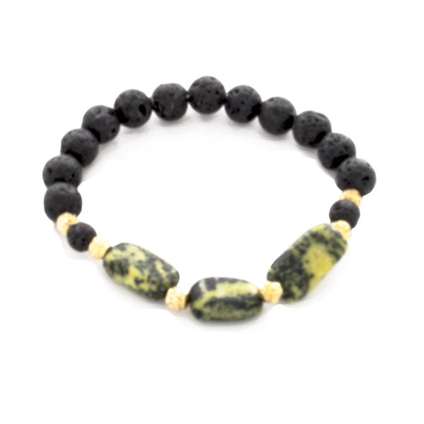 Serpentine Nugget, Gold Bali, and Lava Bead Stretch Infusion Bracelet for Men or Women - Finesse Jewelry