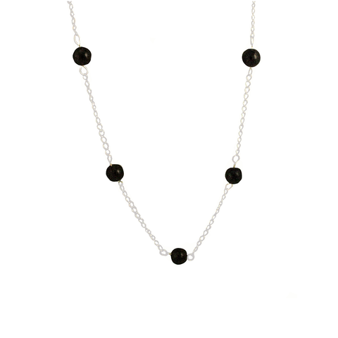 Shungite Beads Spaced on Sterling Silver Chain Necklace - Finesse Jewelry