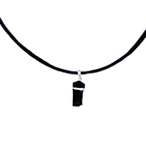 Shungite rough pendant banded in Sterlng Silver on a Black Leather Cord Necklace - Finesse Jewelry