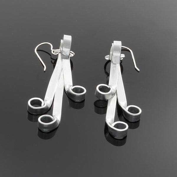 Silver Flair Earrings on Sterling French Hooks - Finesse Jewelry