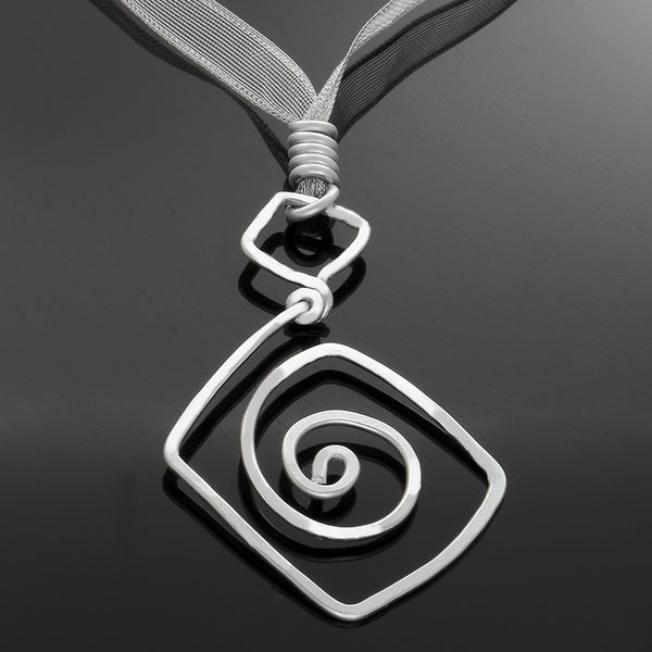 Silver Triangle and Sprial Pendant Necklace - adjustable - Finesse Jewelry