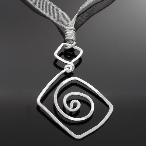 Silver Triangle and Spiral Pendant Necklace - adjustable - Finesse Jewelry